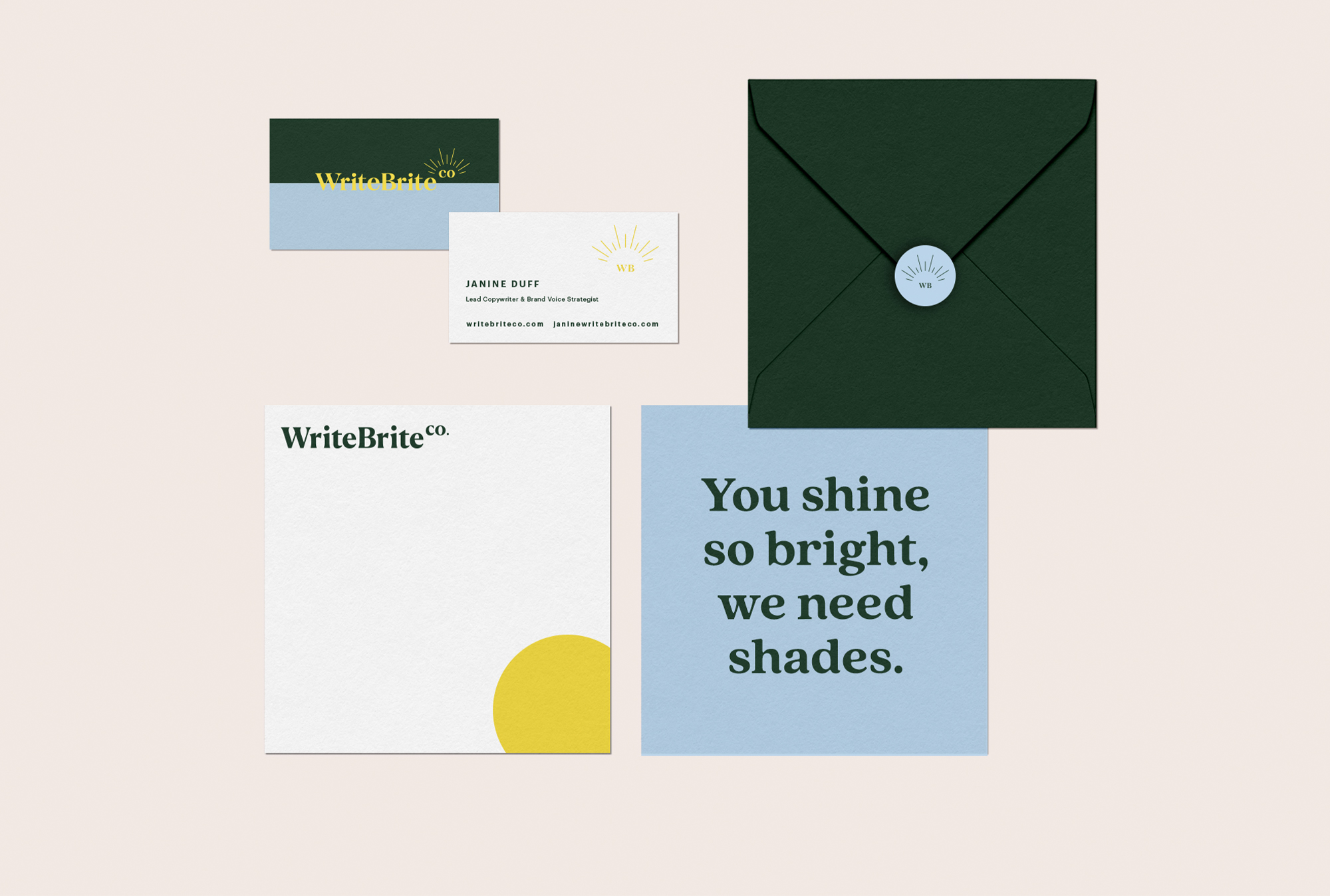 business card, envelope and notecard